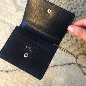 Gigi New York navy card case with keychain